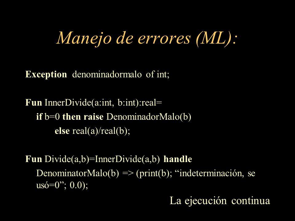 Manejo de errores (ML):