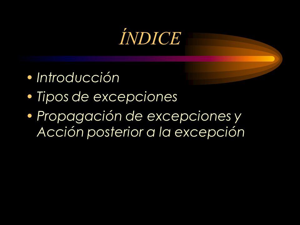 ÍNDICE Introducción Tipos de excepciones