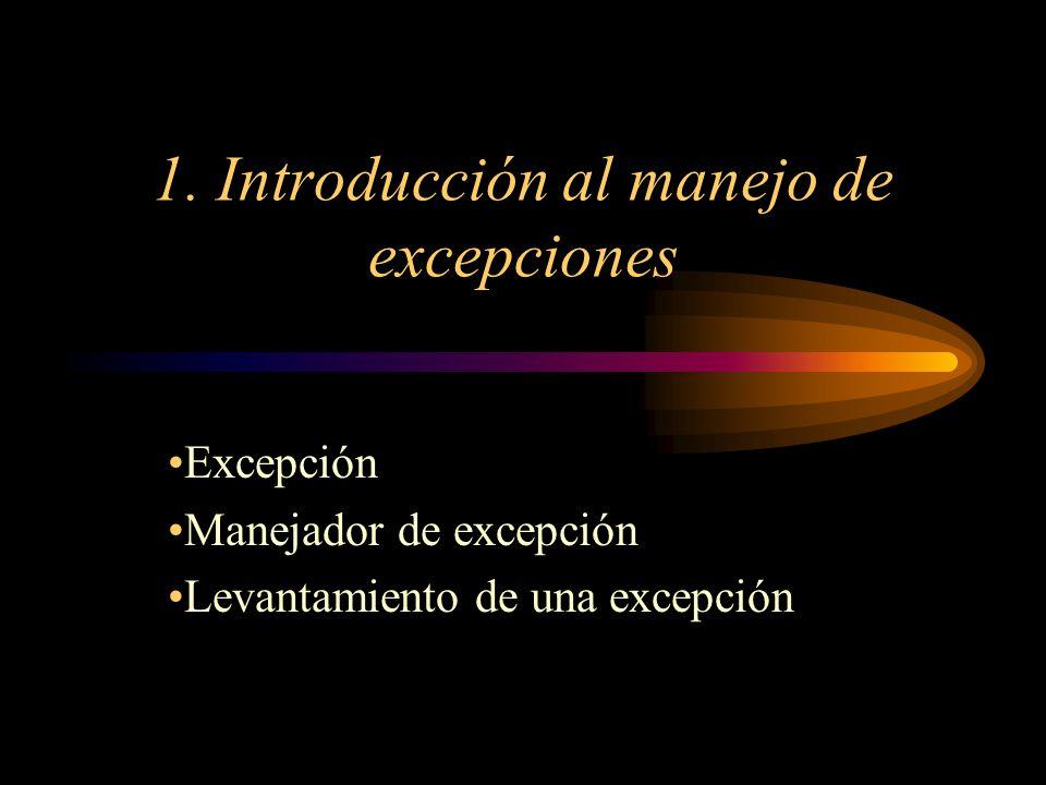 1. Introducción al manejo de excepciones