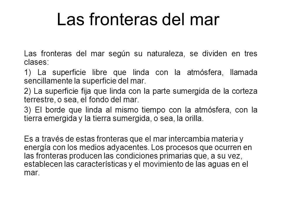 Las fronteras del mar Las fronteras del mar según su naturaleza, se dividen en tres clases: