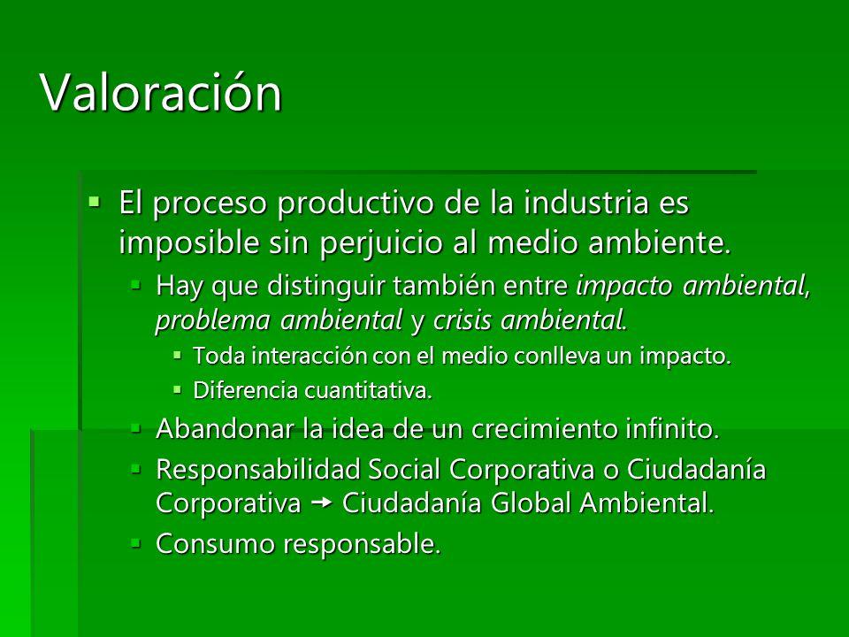 Valoración El proceso productivo de la industria es imposible sin perjuicio al medio ambiente.
