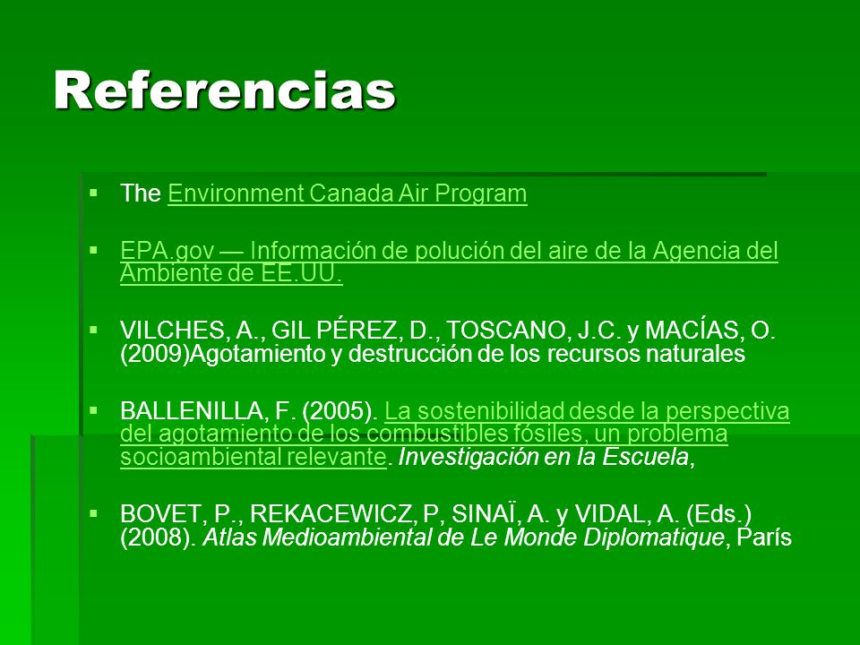 Referencias The Environment Canada Air Program