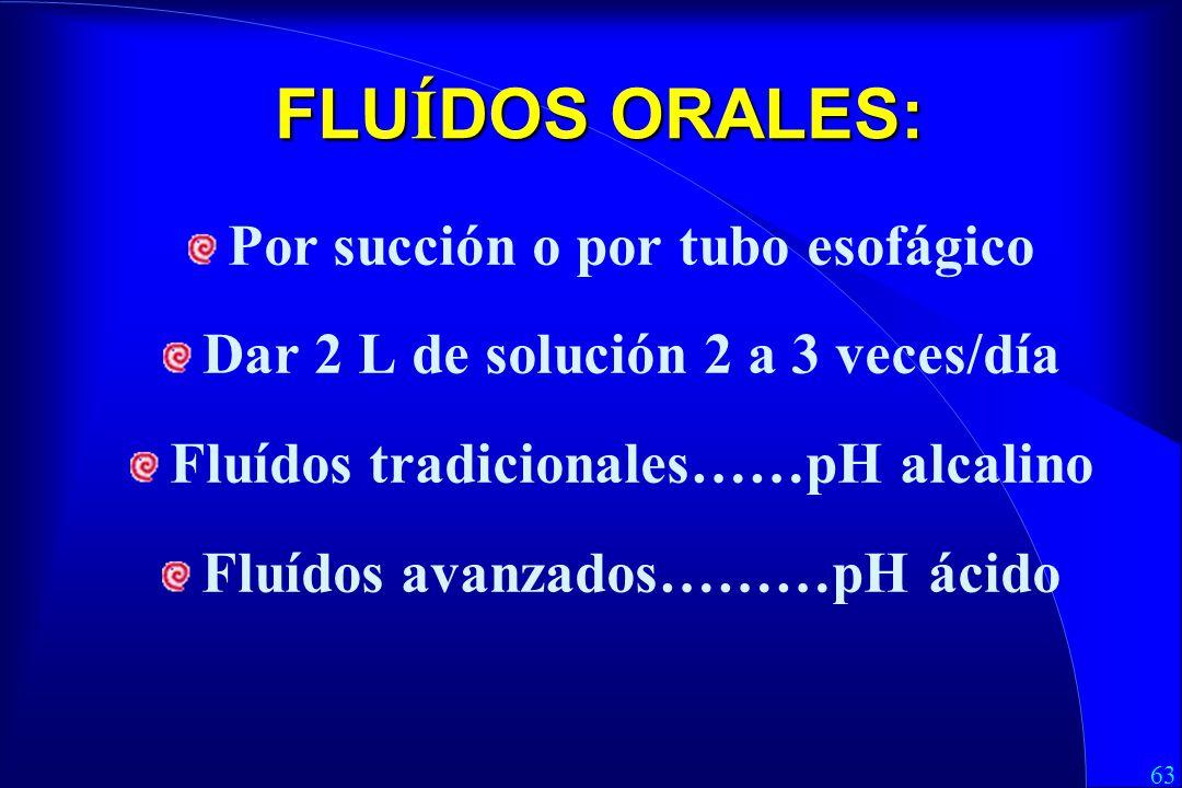 FLUÍDOS ORALES: Por succión o por tubo esofágico