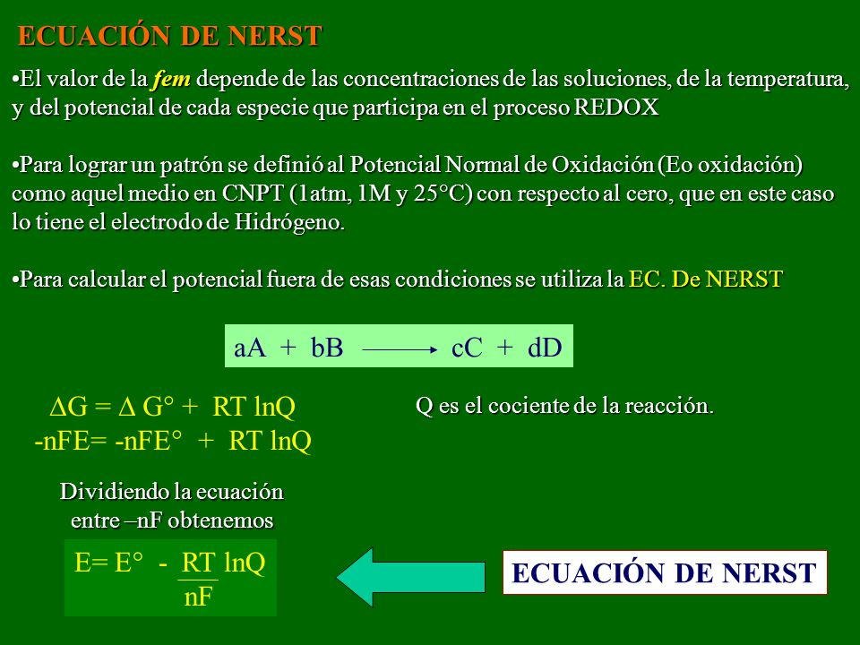 ECUACIÓN DE NERST aA + bB cC + dD G =  G° + RT lnQ