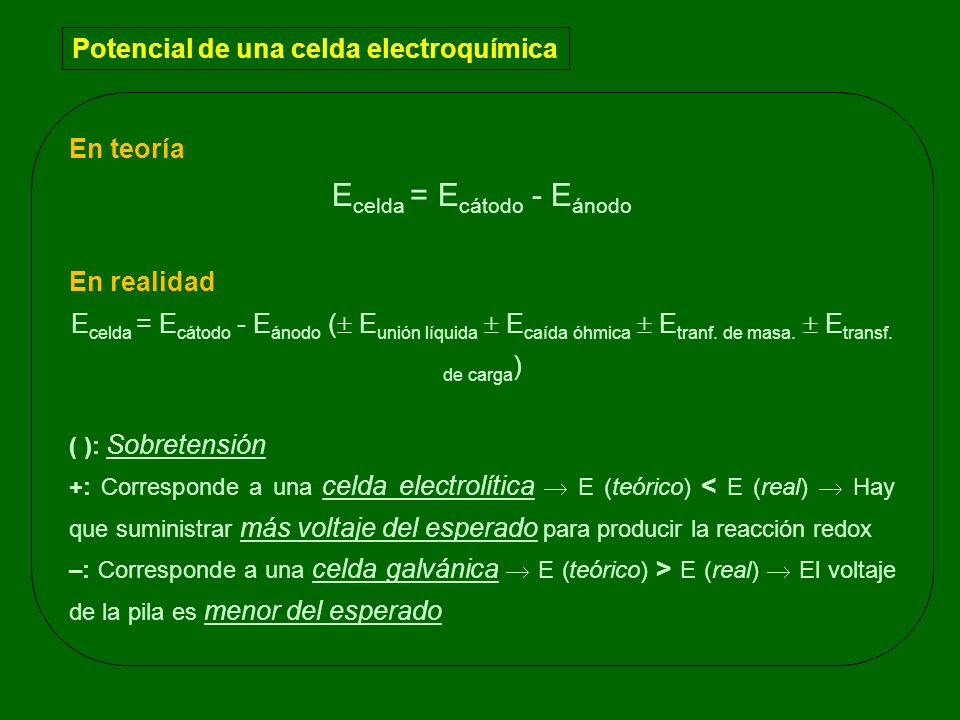 Ecelda = Ecátodo - Eánodo