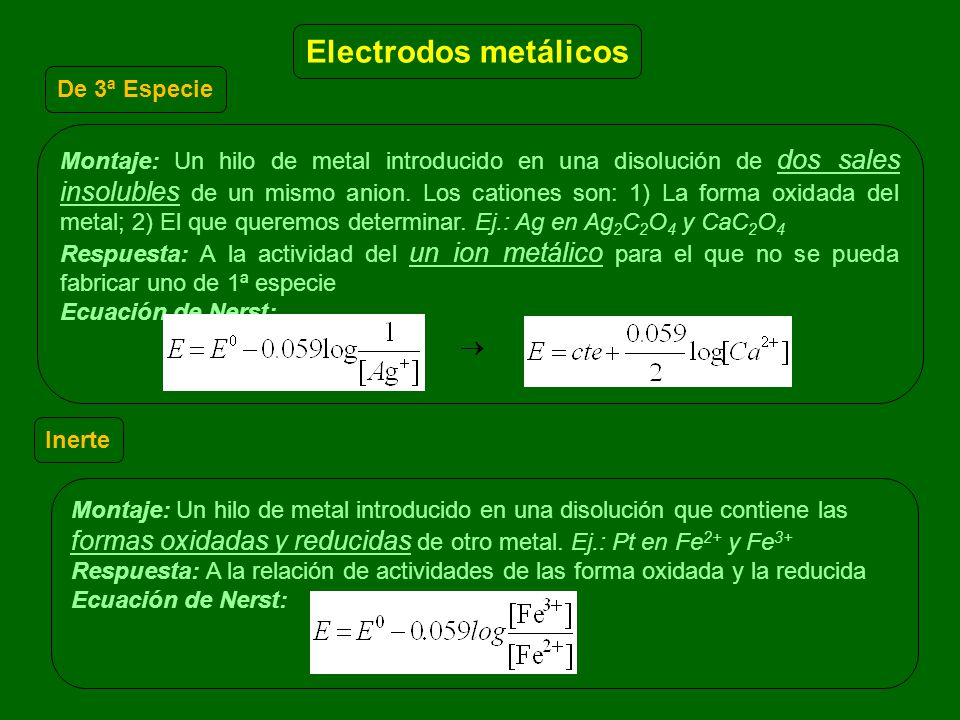 Electrodos metálicos De 3ª Especie