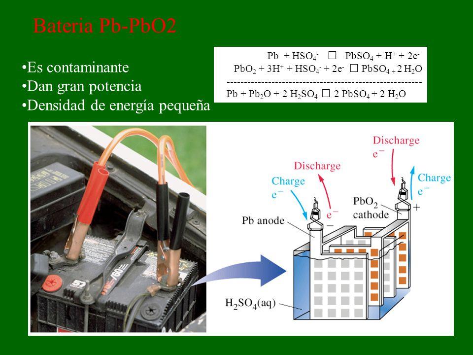 Bateria Pb-PbO2 Es contaminante Dan gran potencia