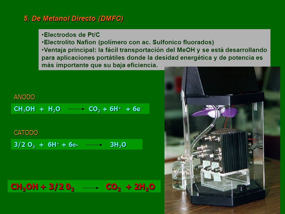 CH3OH + 3/2 02 CO2 + 2H2O 5. De Metanol Directo (DMFC)
