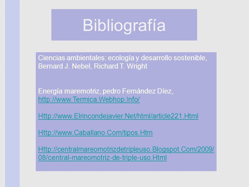 Bibliografía Ciencias ambientales: ecología y desarrollo sostenible, Bernard J. Nebel, Richard T. Wright.