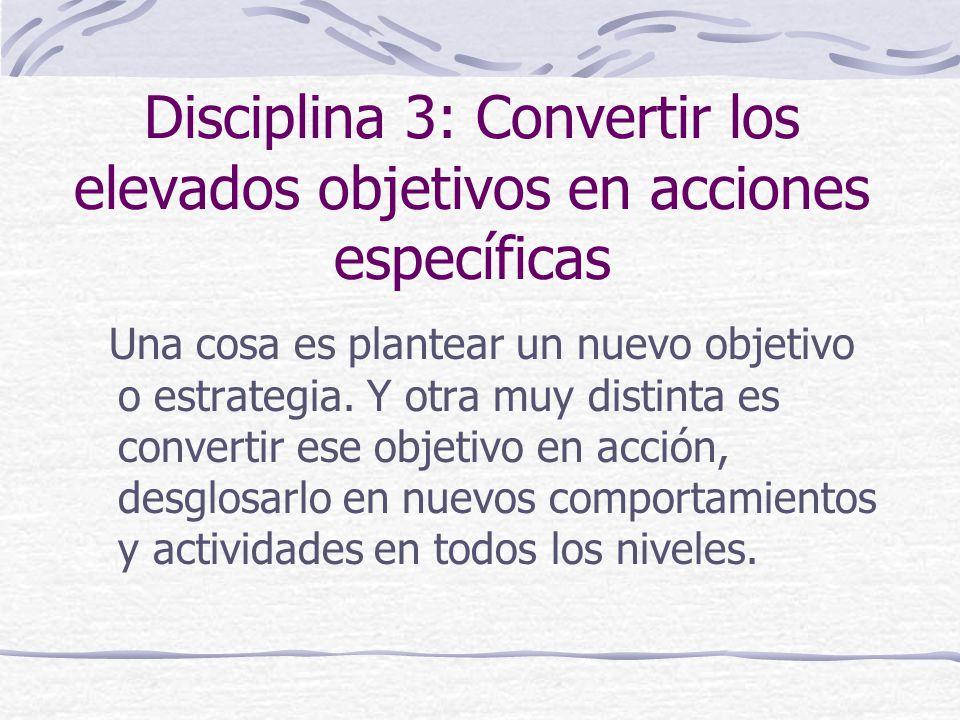 Disciplina 3: Convertir los elevados objetivos en acciones específicas