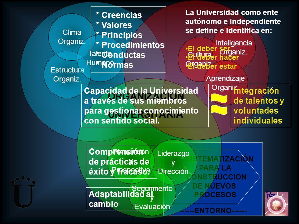 ORGANIZACIÓN UNIVERSITARIA    * Creencias * Valores * Principios