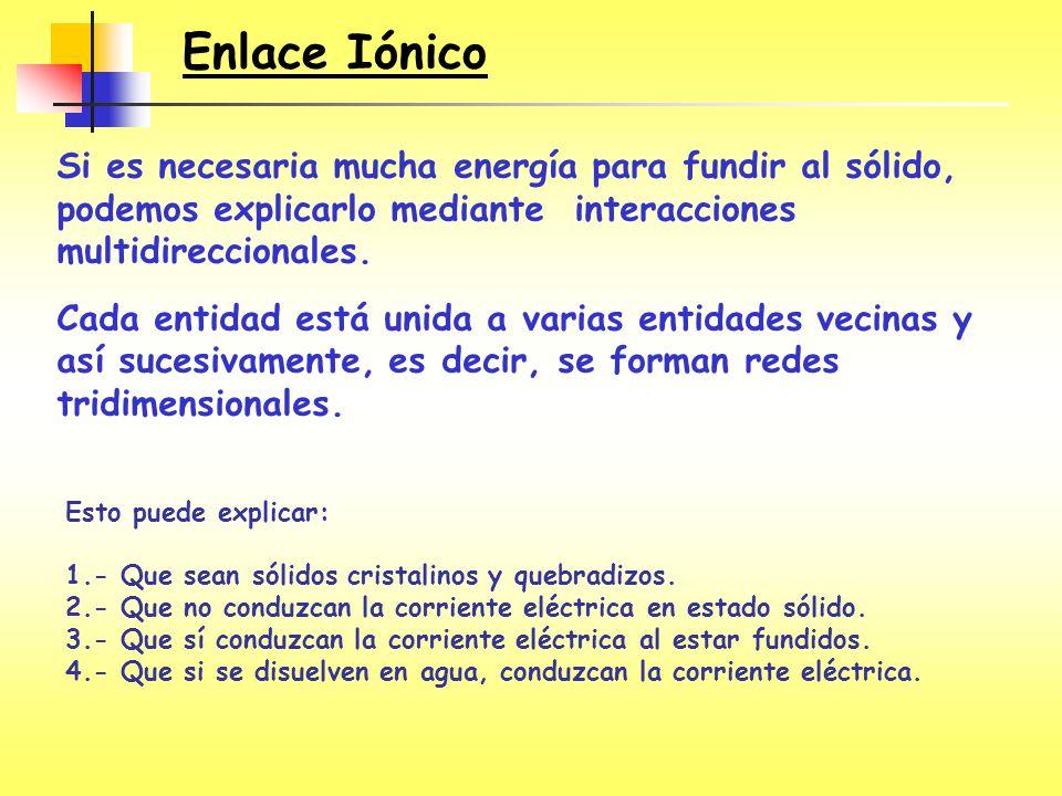 Enlace Iónico Si es necesaria mucha energía para fundir al sólido, podemos explicarlo mediante interacciones multidireccionales.