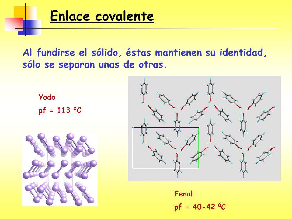 Enlace covalente Al fundirse el sólido, éstas mantienen su identidad, sólo se separan unas de otras.