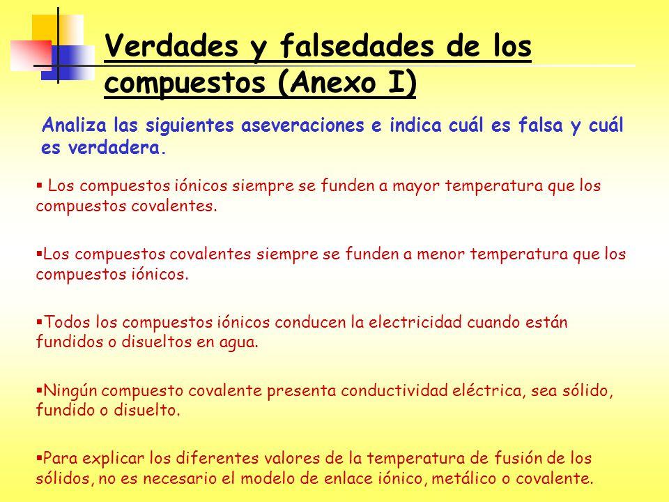 Verdades y falsedades de los compuestos (Anexo I)