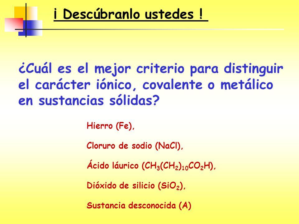 ¡ Descúbranlo ustedes ! ¿Cuál es el mejor criterio para distinguir el carácter iónico, covalente o metálico en sustancias sólidas