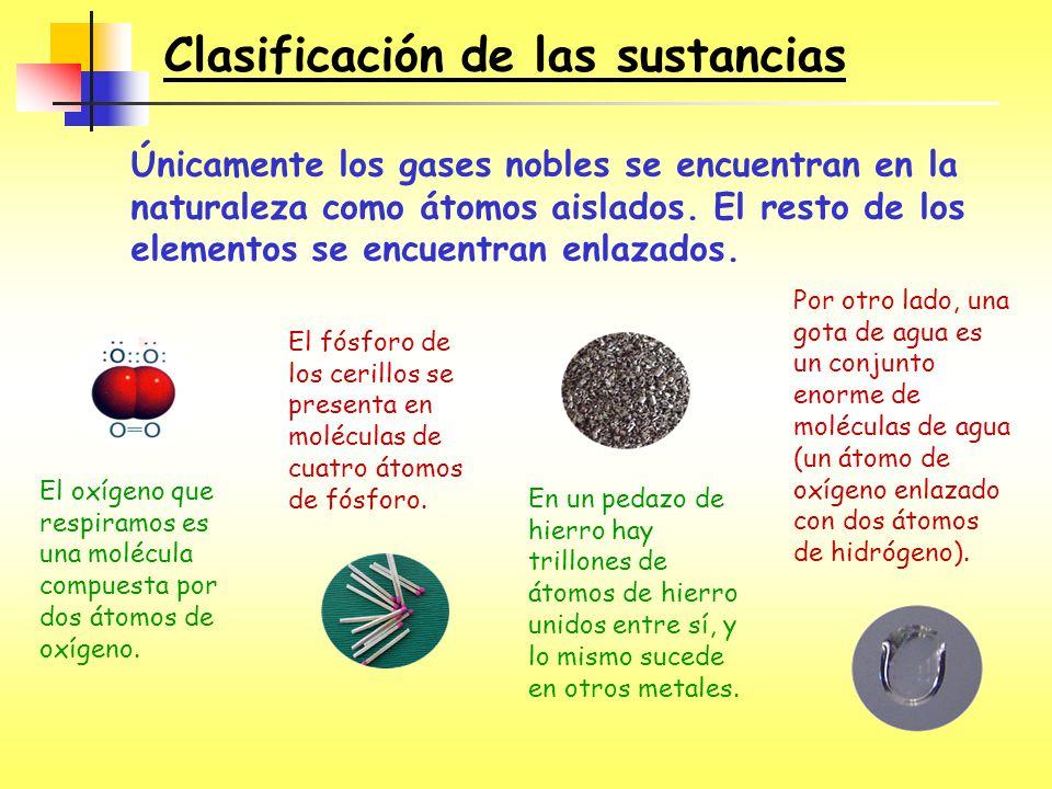 Clasificación de las sustancias