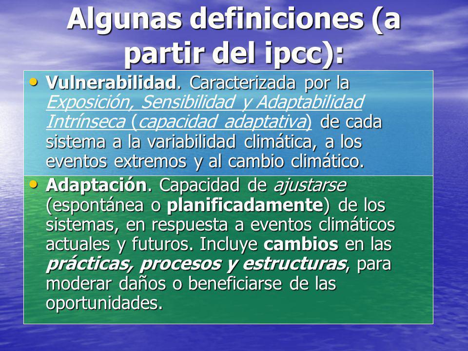 Algunas definiciones (a partir del ipcc):