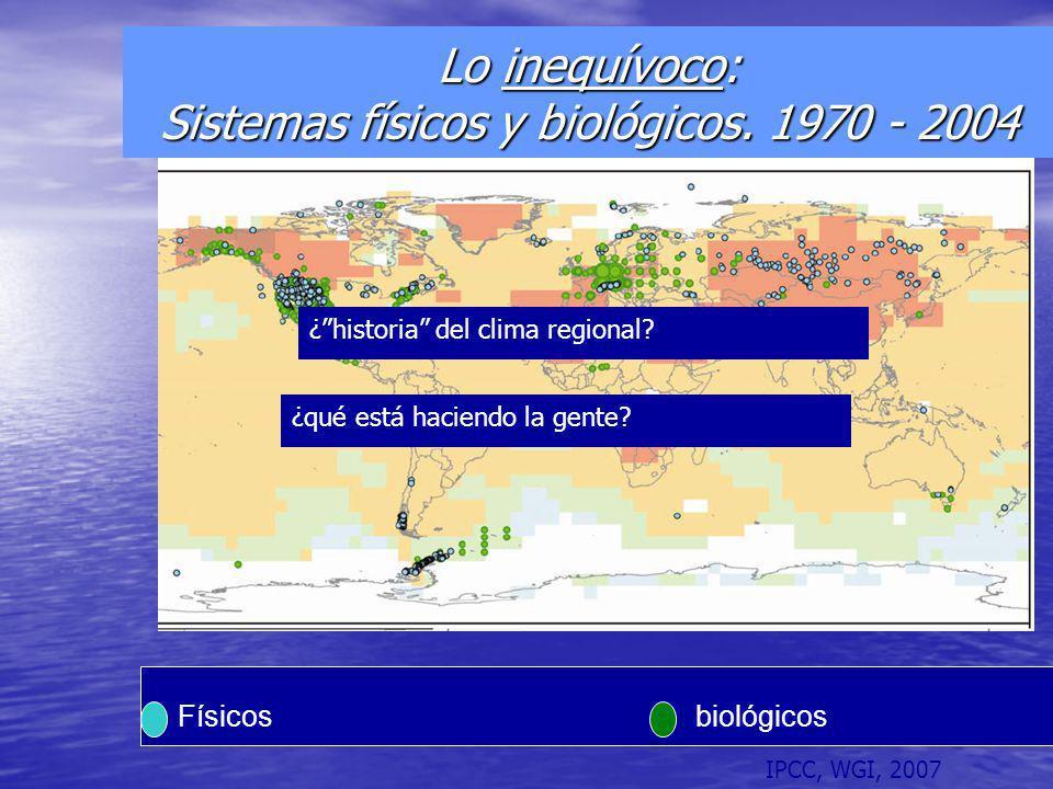 Lo inequívoco: Sistemas físicos y biológicos. 1970 - 2004