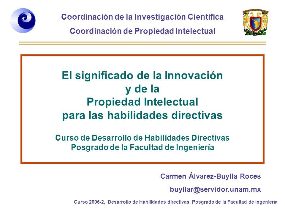 El significado de la Innovación y de la Propiedad Intelectual para las habilidades directivas Curso de Desarrollo de Habilidades Directivas Posgrado de la Facultad de Ingeniería