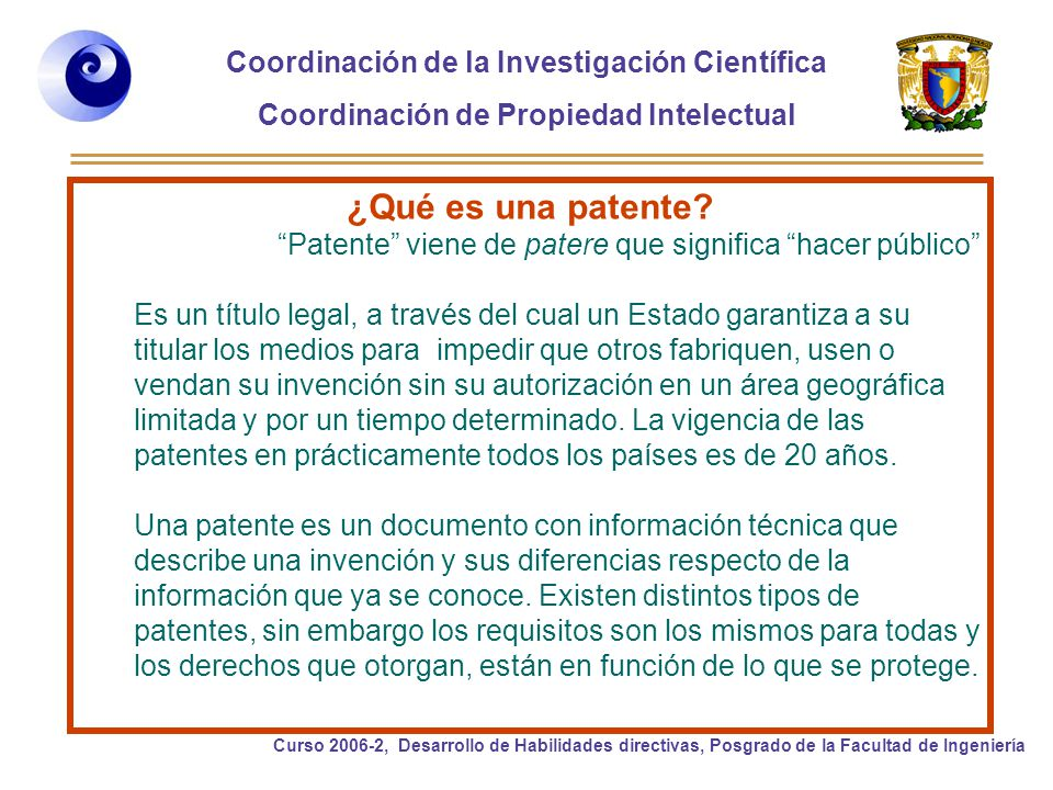 ¿Qué es una patente Patente viene de patere que significa hacer público