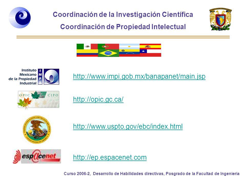 http://www.impi.gob.mx/banapanet/main.jsp http://opic.gc.ca/ http://www.uspto.gov/ebc/index.html.