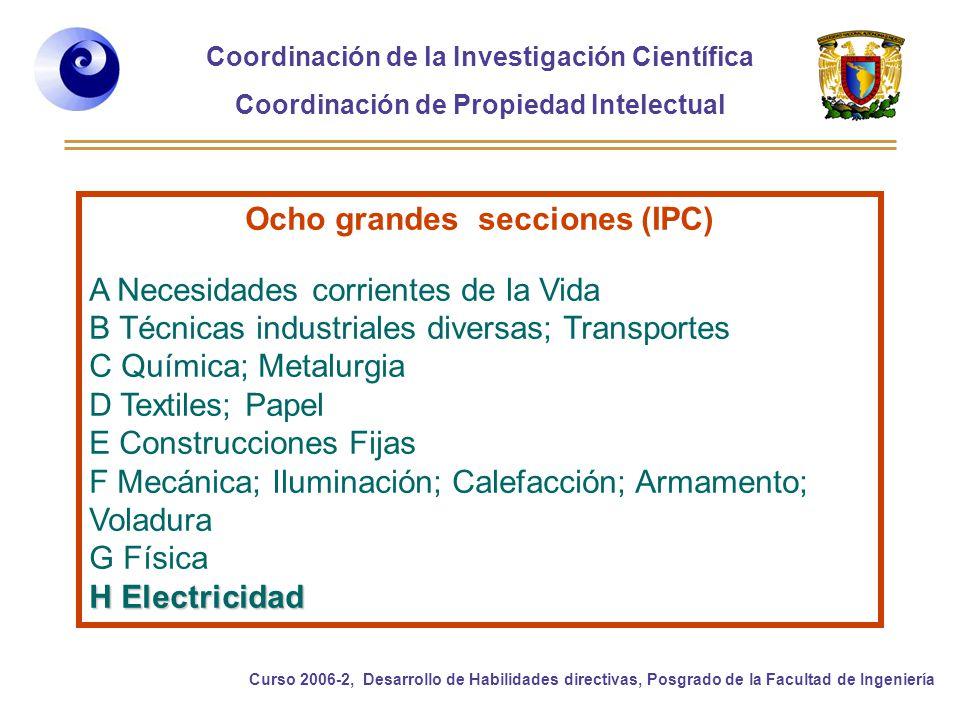 Ocho grandes secciones (IPC)