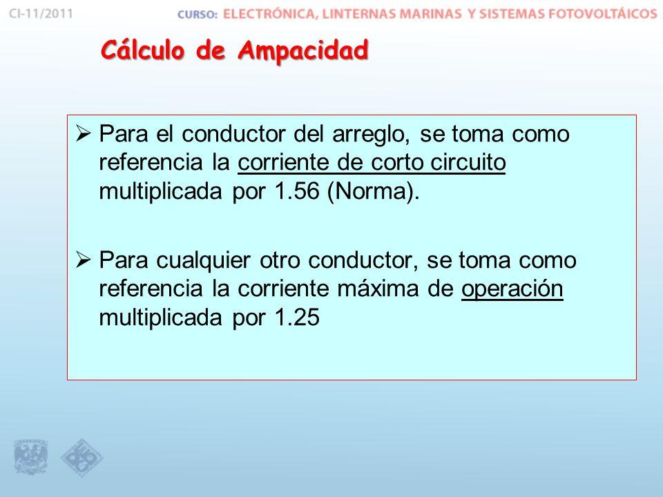 Cálculo de Ampacidad Para el conductor del arreglo, se toma como referencia la corriente de corto circuito multiplicada por 1.56 (Norma).