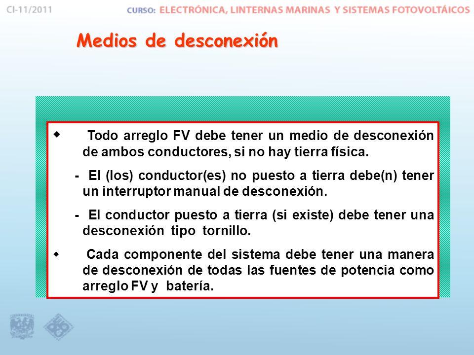 Medios de desconexión Todo arreglo FV debe tener un medio de desconexión de ambos conductores, si no hay tierra física.