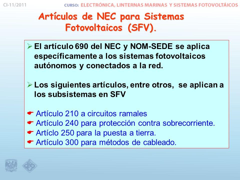Artículos de NEC para Sistemas Fotovoltaicos (SFV).