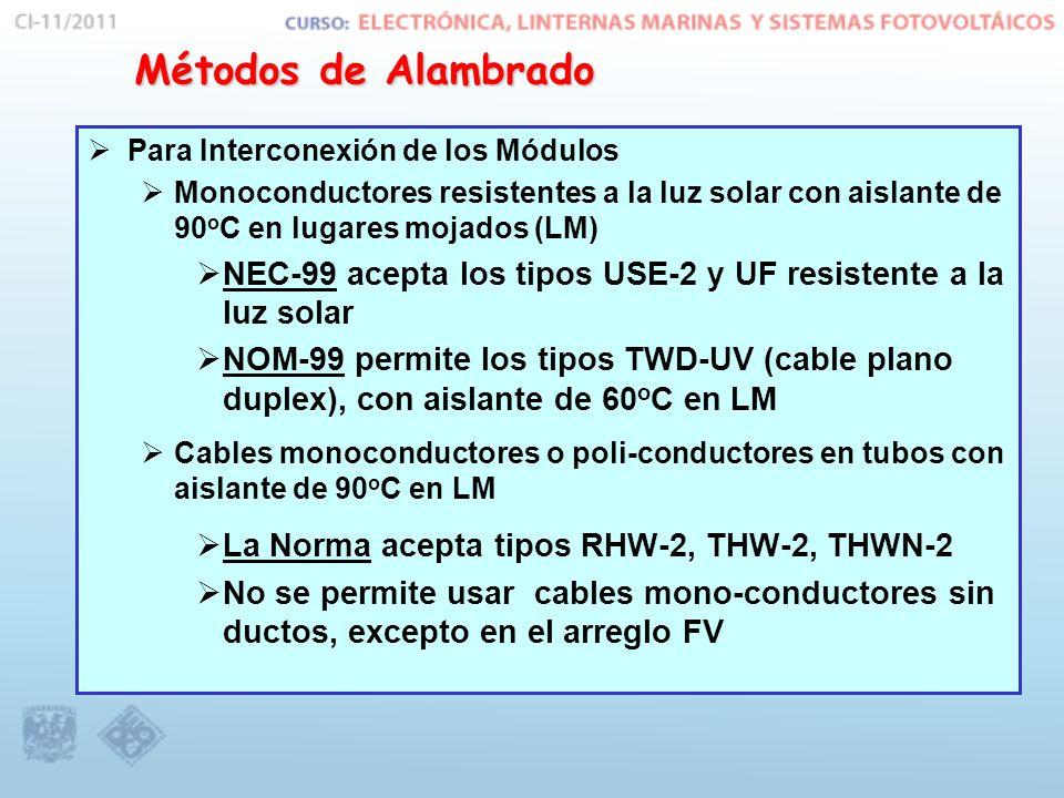 Métodos de Alambrado Para Interconexión de los Módulos. Monoconductores resistentes a la luz solar con aislante de 90oC en lugares mojados (LM)