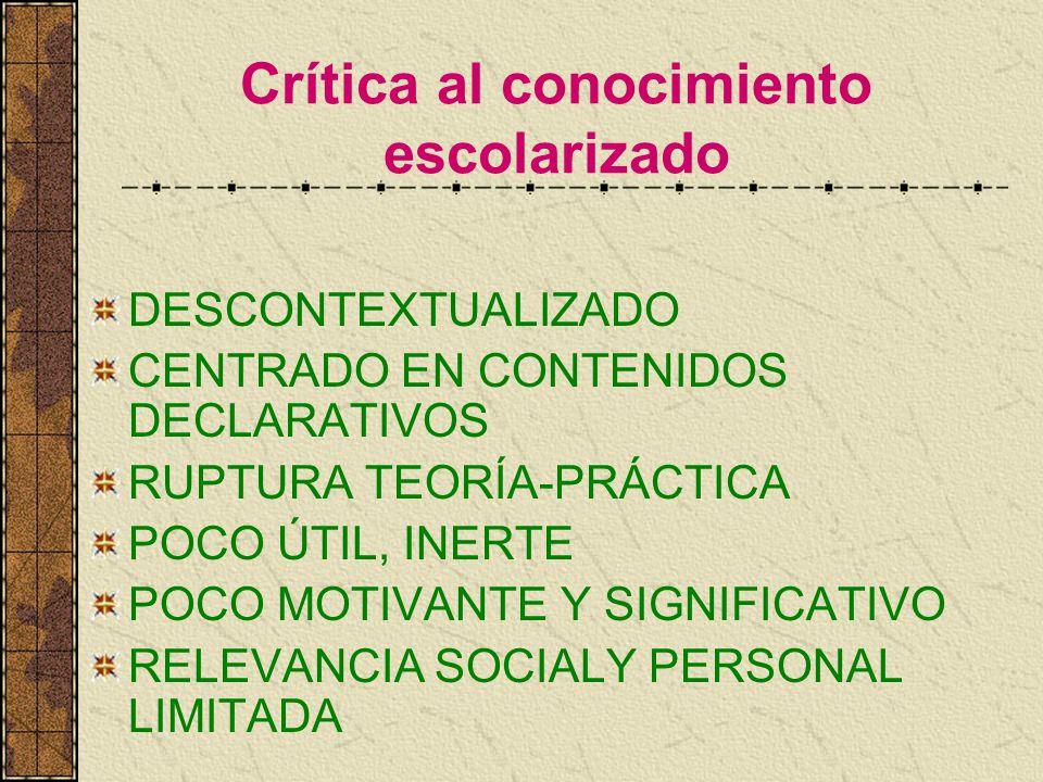 Crítica al conocimiento escolarizado