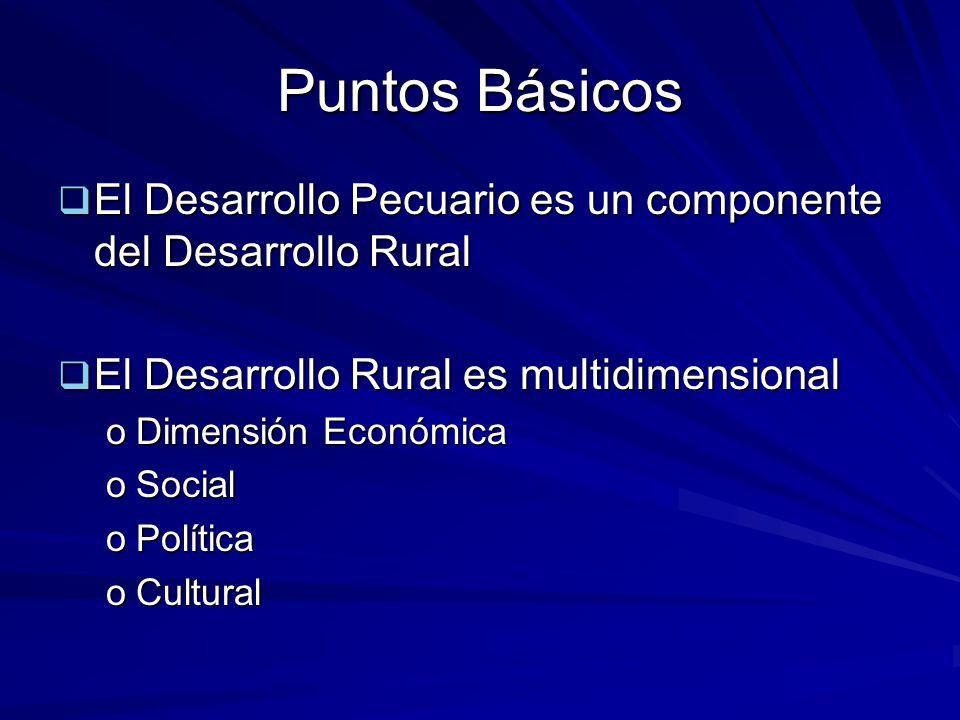 Puntos Básicos El Desarrollo Pecuario es un componente del Desarrollo Rural. El Desarrollo Rural es multidimensional.
