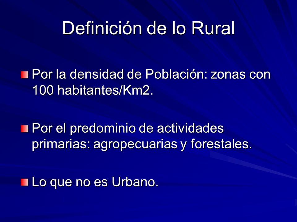 Definición de lo Rural Por la densidad de Población: zonas con 100 habitantes/Km2.