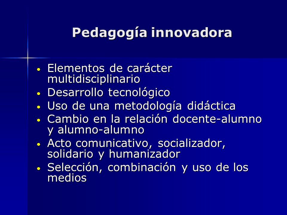 Pedagogía innovadora Elementos de carácter multidisciplinario