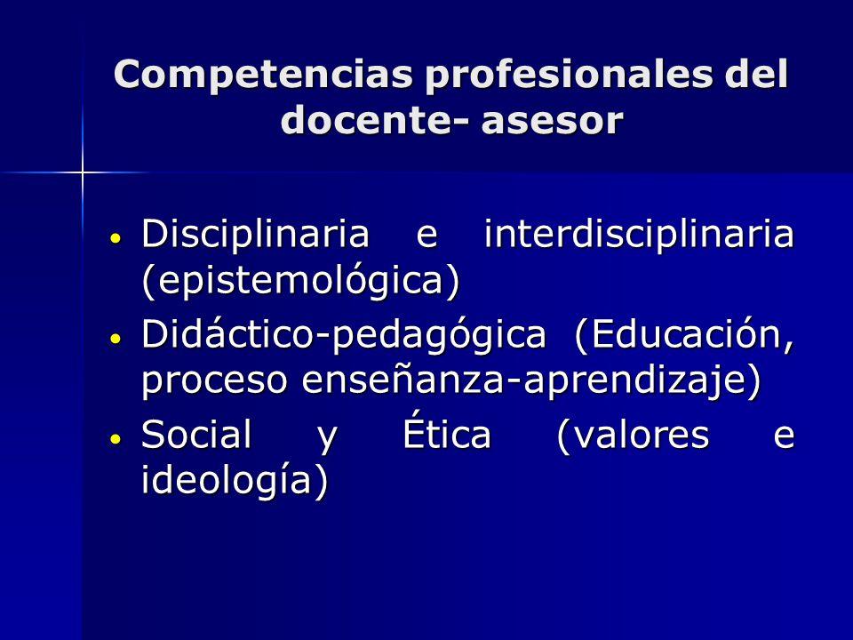 Competencias profesionales del docente- asesor