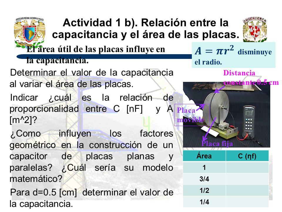 Actividad 1 b). Relación entre la capacitancia y el área de las placas.
