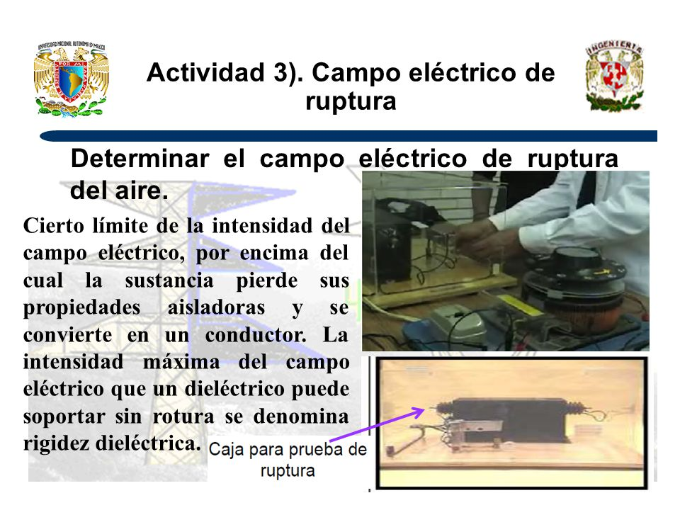 Actividad 3). Campo eléctrico de ruptura