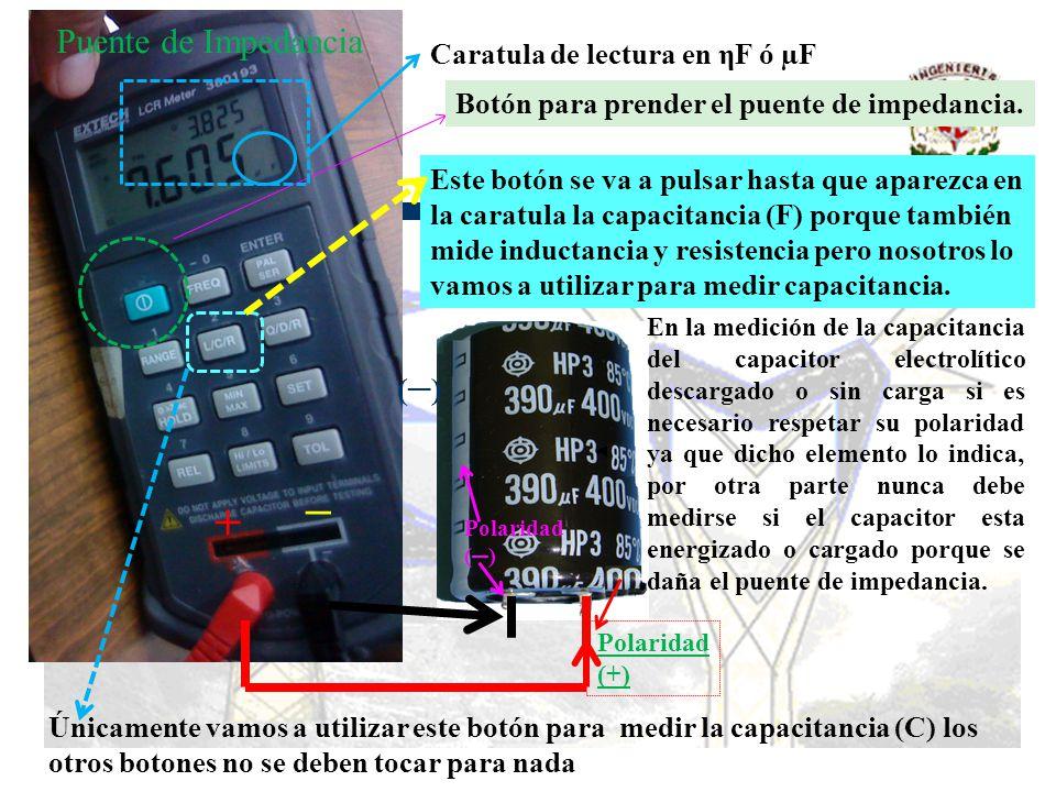 + Puente de Impedancia ─ (─) Caratula de lectura en ηF ó µF