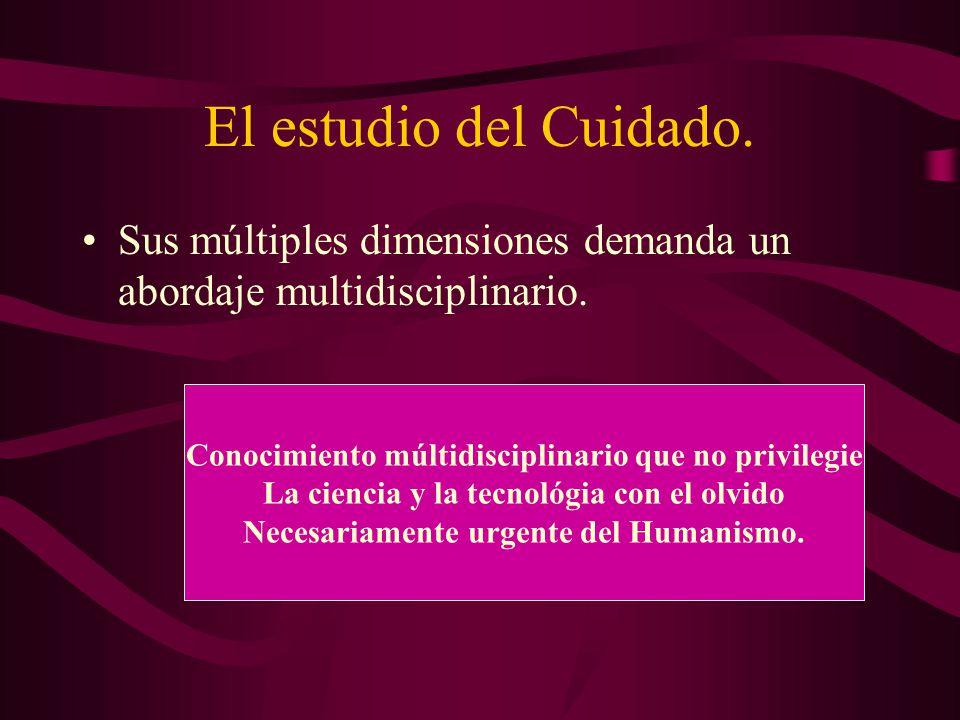 El estudio del Cuidado. Sus múltiples dimensiones demanda un abordaje multidisciplinario. Conocimiento múltidisciplinario que no privilegie.