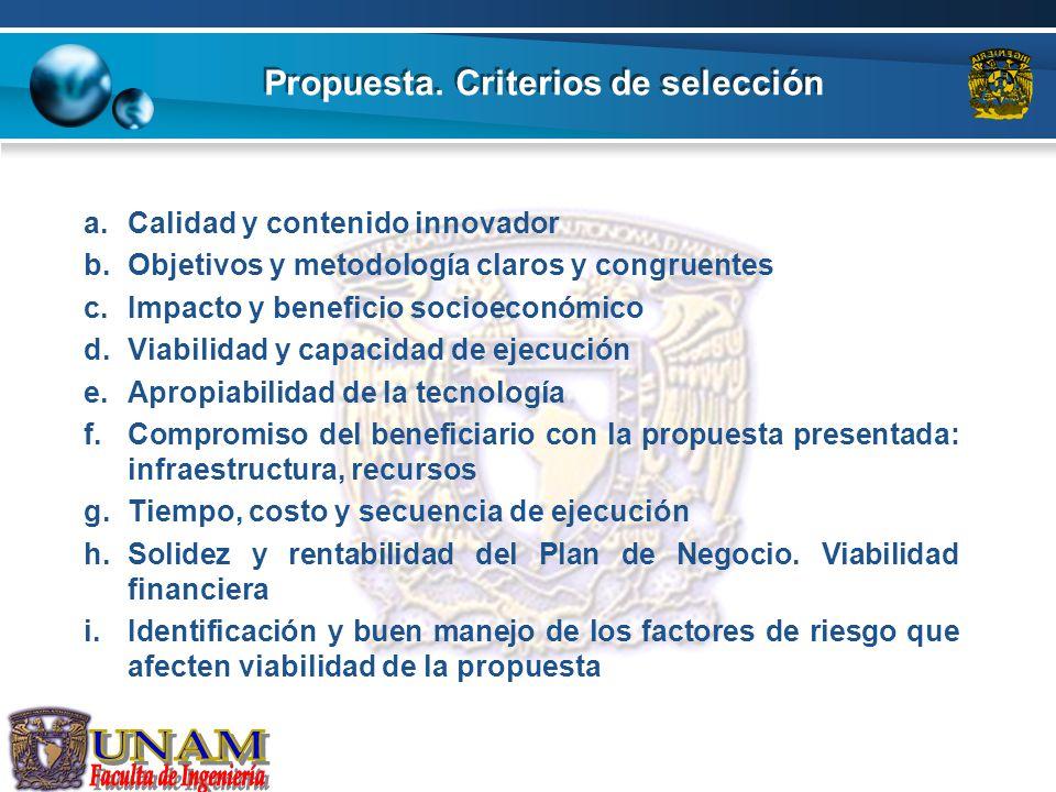 Propuesta. Criterios de selección