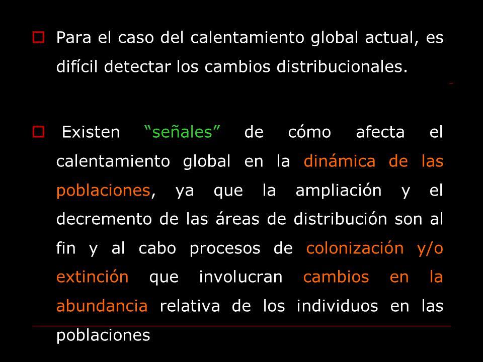 Para el caso del calentamiento global actual, es difícil detectar los cambios distribucionales.