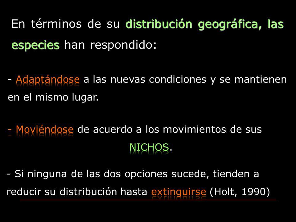 En términos de su distribución geográfica, las especies han respondido: