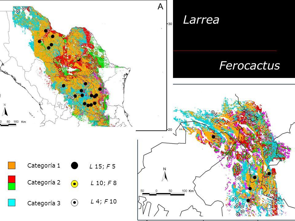 Larrea Ferocactus Categoría 1 L 15; F 5 Categoría 2 L 10; F 8