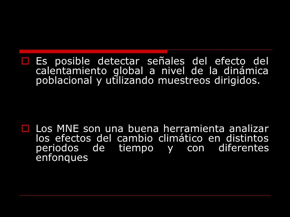 Es posible detectar señales del efecto del calentamiento global a nivel de la dinámica poblacional y utilizando muestreos dirigidos.