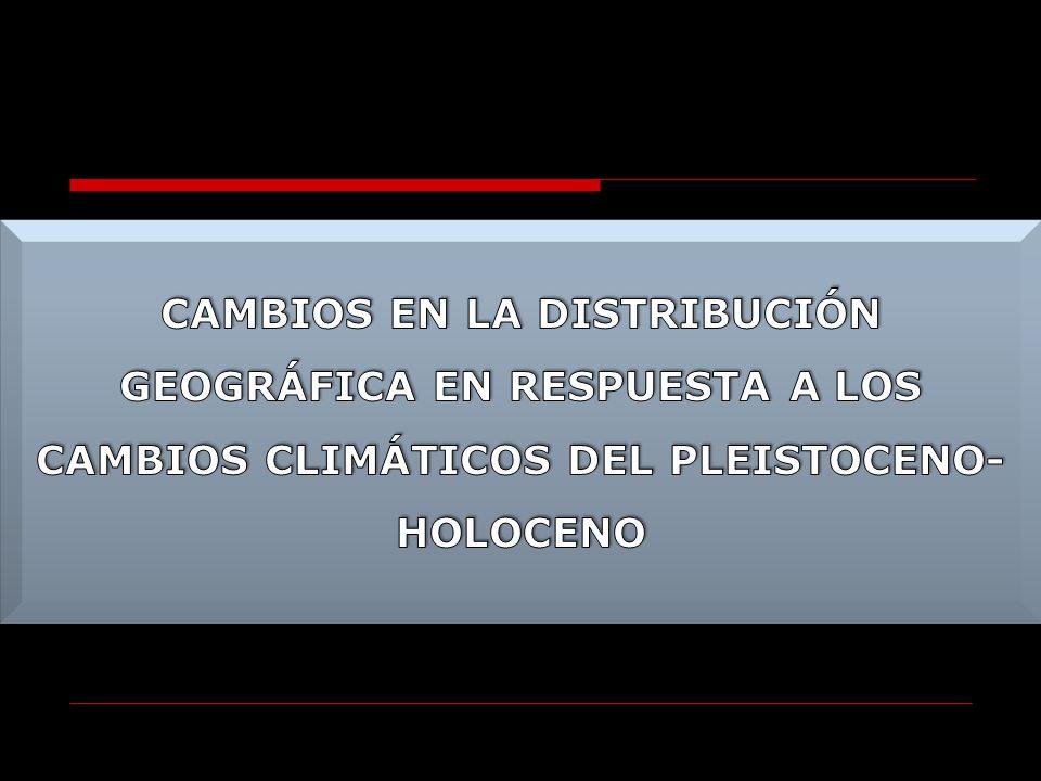 CAMBIOS EN LA DISTRIBUCIÓN GEOGRÁFICA EN RESPUESTA A LOS CAMBIOS CLIMÁTICOS DEL PLEISTOCENO-HOLOCENO