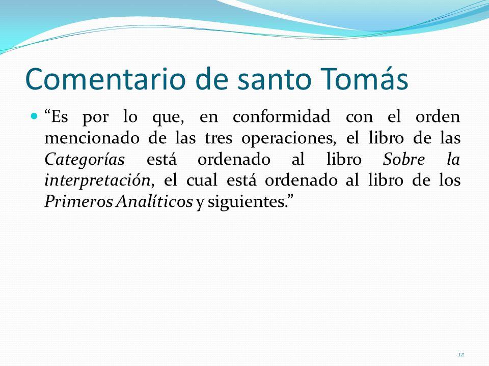 Comentario de santo Tomás