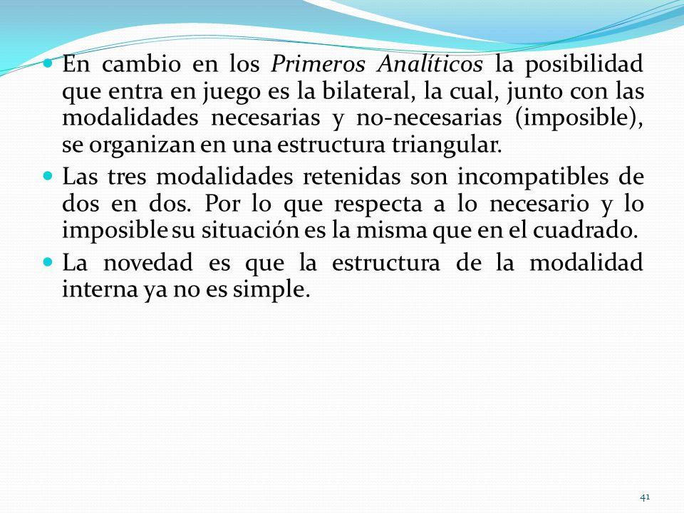 En cambio en los Primeros Analíticos la posibilidad que entra en juego es la bilateral, la cual, junto con las modalidades necesarias y no-necesarias (imposible), se organizan en una estructura triangular.