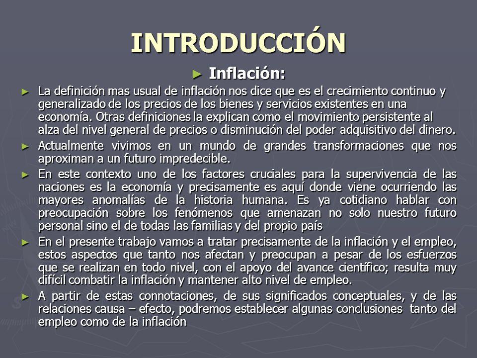 INTRODUCCIÓN Inflación: