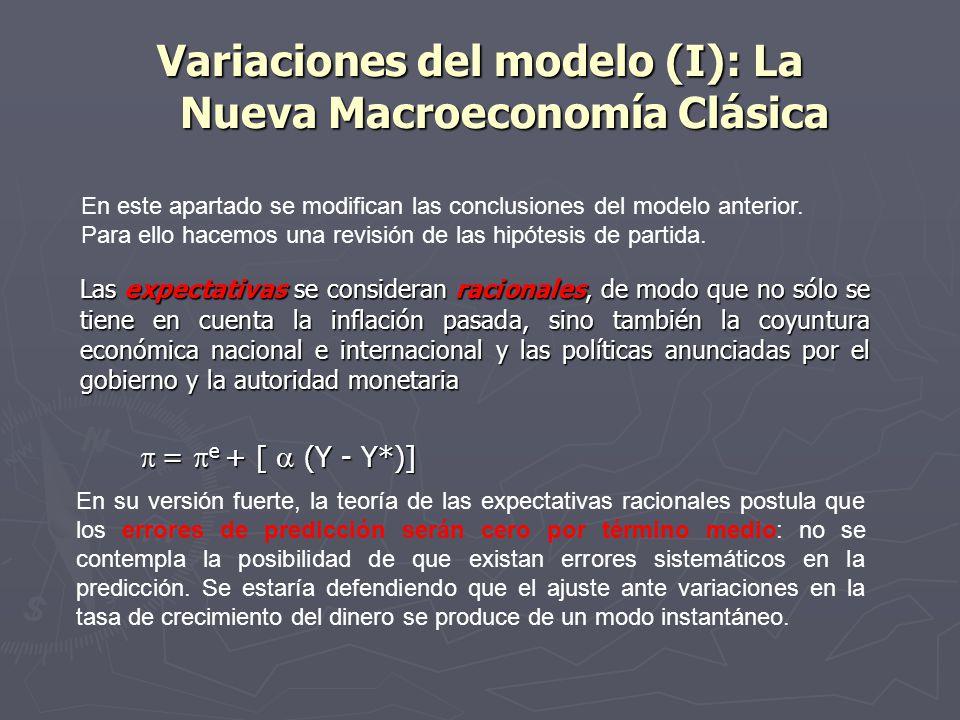 Variaciones del modelo (I): La Nueva Macroeconomía Clásica