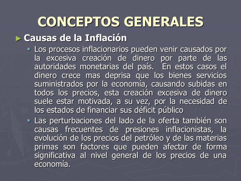 CONCEPTOS GENERALES Causas de la Inflación